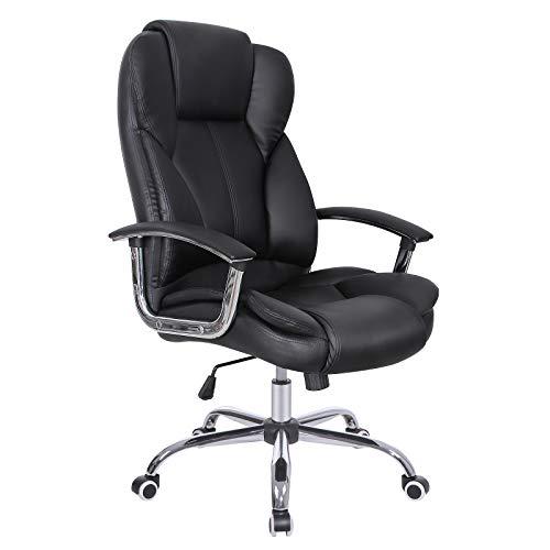 SONGMICS Bürostuhl Chefsessel Drehstuhl Computerstuhl Sitzhöhenverstellung office Stuhl Polsterung OBG57B