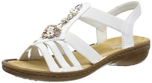 Rieker Damen 60855-80 Geschlossene Sandalen, Weiß (Weiß 80), 38 EU