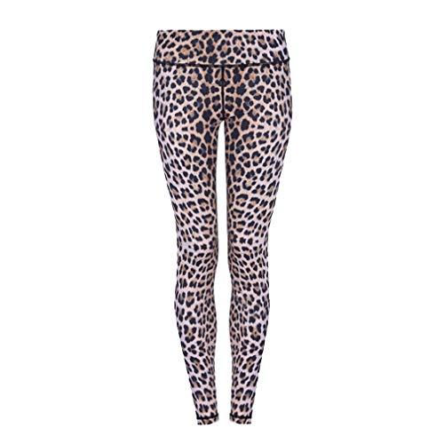 Mxssi Hight Taille Leopardenmuster Sport Leggings Strumpfhosen Push Up Laufen Fitness Gym Sportwear Yogahosen Elastische Taille Gelb XL