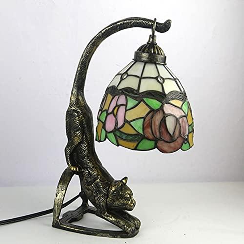 FVDS 15'Lámpara de Mesa de Cola de Gato de Estilo Tiffany, luz Colgante de Vidrio Pastoral para iluminación de Dormitorio Amantes de los Animales (Color : Rose)