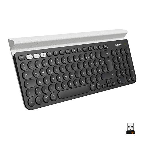 Logitech K780 Kabellose Tastatur, Bluetooth & 2.4 GHz Verbindung, Multi Device & Easy-Switch Feature, Integrierte Halterung, PC/Mac/Tablet/Smartphone, Deutsches QWERTZ-Layout - Dunkelgrau/Weiß