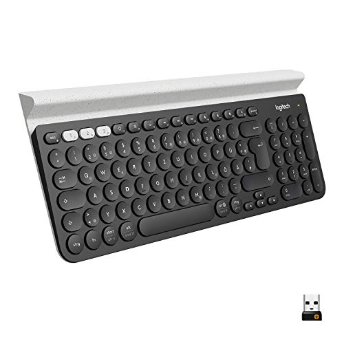 Logitech K780 Kabellose Tastatur, Bluetooth & 2.4 GHz Verbindung, Multi Device & Easy-Switch Feature, Integrierte Halterung, PC/Mac/Tablet/Smartphone, Deutsches QWERTZ-Layout, Dunkelgrau/Weiß