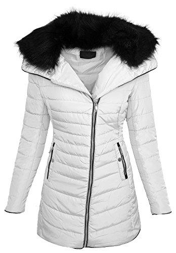 Rock Creek Selection Designer damesjas gewatteerde jas mantel korte mantel nep bontkraag D-382 S-XL