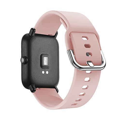 Pavo Real Saisiyiky 20mm Correa y Funda Protector Compatible con AMAZFIT Bip Xiaomi Huami Pulsera//Ajustable para Smartwatch Reemplazo de Correa Banda de Silicona