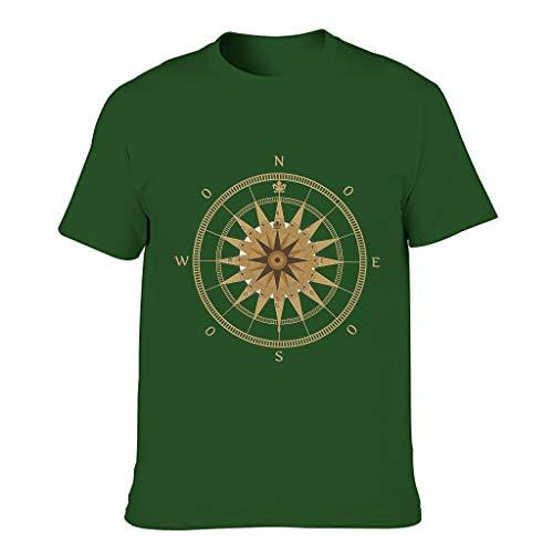 Camisetas de algodón dorado brújula para hombre - Nautical Elements elegante Top Wear