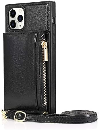 SLDiann Case for iPhone 11 pro, Zipper Wallet Case with Credit Card Holder/Crossbody Long Lanyard, Shockproof Leather TPU Case Cover for iPhone 11 pro (Color : Black)