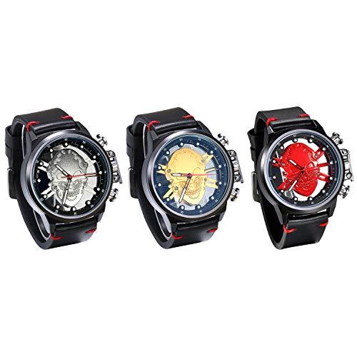 JewelryWe 3pcs Herrenuhr Analog Quarz wasserdichte Armbanduhr Gotik Totenkopf Schädel Männer Lässige Uhr mit Leder Armband, Silber Gold Rot Schwarz