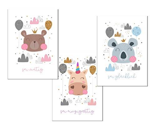 RAIYARI 3er-Sets Kinderzimmer Poster für Mädchen und Jungen - Babyzimmer Bild Deko DIN A4 - Wandbilder mit Tiermotiven - Kinderzimmer Dekoration ohne Rahmen (Bär, Einhorn, Koala)