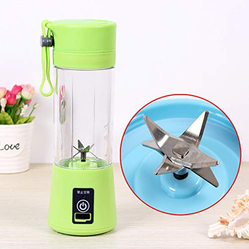 Alician Home Kitchen Bathroom Supplies Portable 6 Blades USB Charging Eletric Fruit Juicer Blender Green 380ML