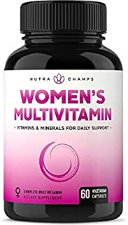 Women's Daily Multivitamin Supplement - Vegan Capsules with Biotin, Vitamins A B C D E K, Calcium, Zinc, Lutein, Magnesium...