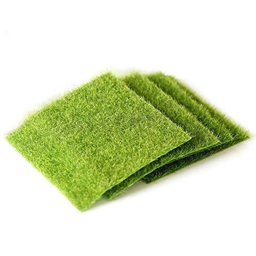 VOANZO 5 x Kunstrasen-Bodenmatte, künstliches Moos, künstliche Grünpflanzen, Gras, realistische Kunstrasen-Matte für Zaun, Hinterhof, Heimdekoration, grüne Wände (15 x 15 cm)