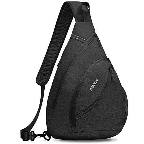 OSOCE Sling Bags,Shoulder Backpack,Over Chest Cross body Bag Pack Sport(Black)