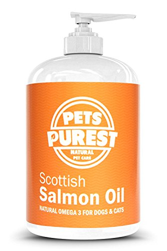 Pets Purest Scottish Salmon Oil For Dogs, Cats, Horses, Ferrets & Pets - 100% Pure Premium Food Grade - Natural Omega 3, 6 & 9 Supplement - Promotes Coat, Skin, Joint and Brain Health (500 ml)