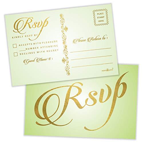 RSVP Postkarten (50 Stück), Goldfolienprägung mit Versandseite, 10,2 x 15,2 cm, Antwortkarten für alle Anlässe, versandbar, rustikales Grün