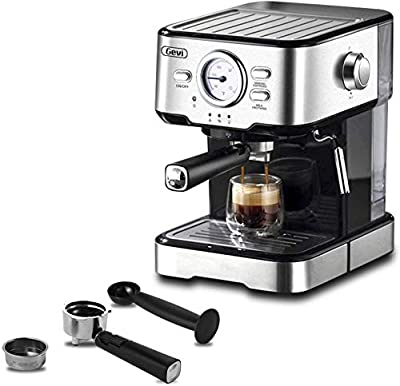 Espresso Machines 15 Bar Cappuccino Machine with Adjustment Milk Frother for Espresso, Latte and Mocha, 1.5L Removable Water Tank and Double Temperature Control System, Black, 1100W