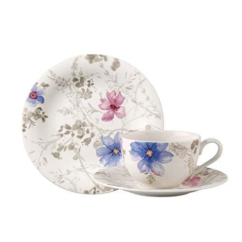 Villeroy & Boch - Mariefleur Gris Basic Kaffee-Set, 18 tlg., Premium Porzellan, spülmaschinen-, mikrowellengeeignet, Weiß/Bunt