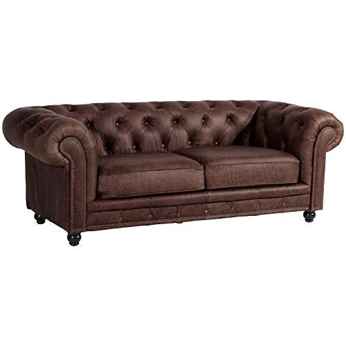 Max Winzer® Sofa 2,5-Sitzer Orleans, braun, leicht pigmentiertes Nappaleder (Antikleder), Couch, Chesterfield, 216 x 100 x 77 cm
