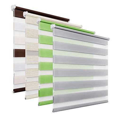 BelleMax Doppelrollo Klemmfix ohne Bohren Duo Rollo, Sonnenschutz lichtdurchlässig Blickdicht, Klemmrollo Fensterrollo, Rollos für Fenster und Tür, 70x130cm, Grau