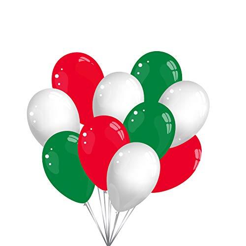 Luftballons - Grün/Rot/Weiß - 15 Stück Luftballons - Luftballons als Fanartikel, Fußball, Deko, Party, Länder, Italien, Wales - für Helium geeignet twist4® - je 5 grün/rot/weiß