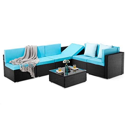 PAMAPIC 7 Pieces Patio Furniture,Outdoor Rattan Sectional Sofa Conversation Set with Tea Table and Washable Cushions, Blue