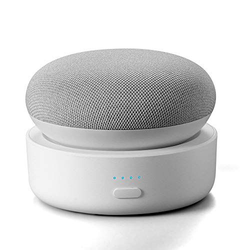 Portable Battery Base for Google Nest Mini 2, GGMM N2 10000mAh Nest Mini 2 Rechargeable Charger Stand, White (Nest Mini or Charge Cord not Included)