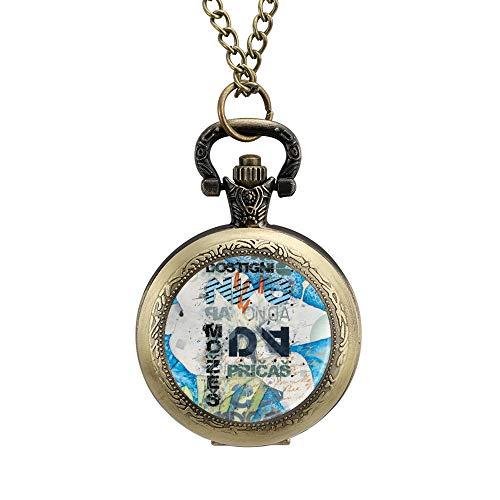 Klassieke Pocket Horloge Abstract Foto Tekst Motto Ketting Hanger voor Mannen/Vrouwen Vintage Analoge Quartz Pocket Horloge Arabische Numeralen Retro Ornate horloge, Geschenk voor Vader en Vriendje Aangepaste Gepersonaliseerde Sieraden, Eén maat, Patroon 2