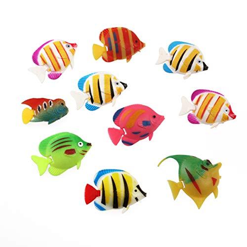 POPETPOP Decoraciones de Peces de Plástico para Acuarios - 10 Piezas de Adornos Flotantes de Peces de Colores Realistas Artificiales para Pecera Betta (Patrón de Color Aleatorio)