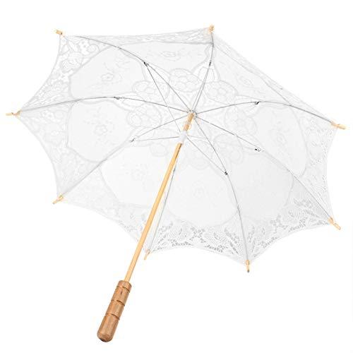 01 Paraguas de Boda de Encaje Vintage - Paraguas de algodón de Encaje Nupcial para Bodas, Baile, fotografía, utilería, celebración, decoración(Milky White Large)