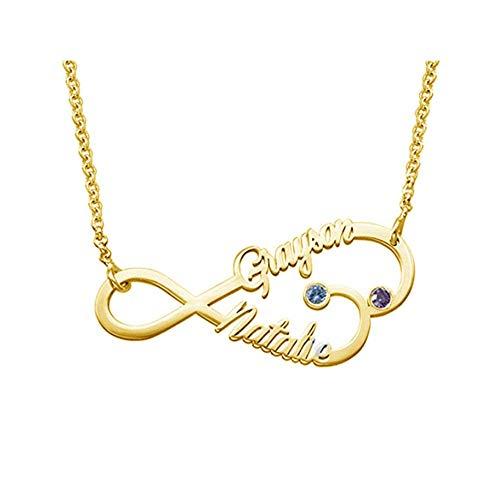 Personalisierte Paar-Infinity-Halskette, graviert mit 2 Namen und Geburtssteinen - 925 Sterling Silber - BFF-Unendlichkeits-Namenskette in Roségold für Freundschaftsliebe