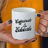 Taza de café con cafeína y educación para el fin de año, idea de regalo para maestro, hogar, mamá, taza de café de cerámica divertida bq179