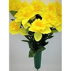 Cemetery Silk Flower Vase Yellow Daffodil Buttercup Bouquet