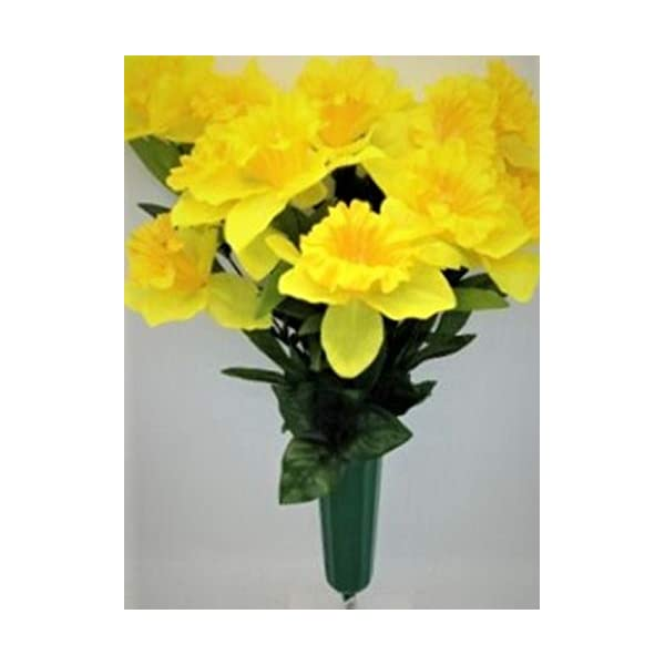 Memory Lane Memorials Cemetery Silk Flower Vase Yellow Daffodil Buttercup Bouquet