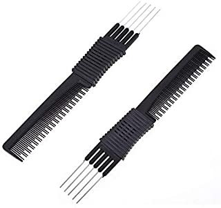 Dual Purpose Hairdressing Comb, Professional Carbon Fibre Salon Cutting Comb and Stainless Steel Pintail - Lightweight & C...