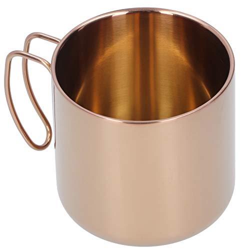 Taza de acero inoxidable, taza de café de 400 ml, vajilla de acero inoxidable 304, taza de té portátil para bar, oficina en casa, sin tapa(Oro rosa)