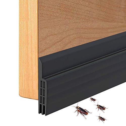 Suptikes Selbstklebende Türdichtung Unten, Tür Zugluftstopper für gegen Insekt Schalldichtung Wetterfest Blocker Silikon Türstopper 100 * 5cm, Schwarz