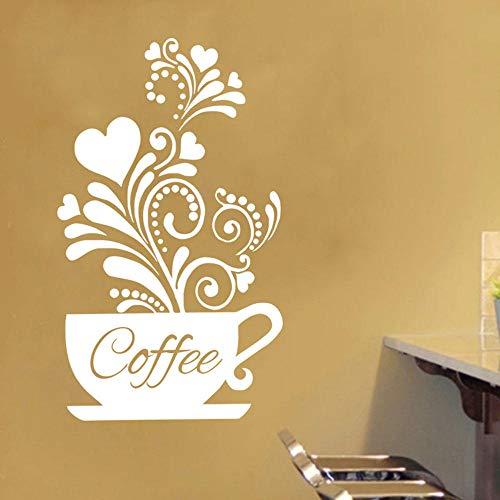 PVC Entspannende Kaffeetasse Flower Vine Wandaufkleber Schaufensterdekor DIY Umweltfreundlich Wasserdicht Abnehmbarer Aufkleber Home Cafe Dekor-Weiß
