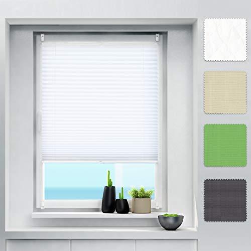 Plissee Klemmfix ohne Bohren Jalousien Rollo, Plisseerollo mit Klemmfixträger, Faltrollo sichtschutz und Sonnenschutz, Plissee Rollo für Fenster und Tür - Weiß 80 x 130 cm