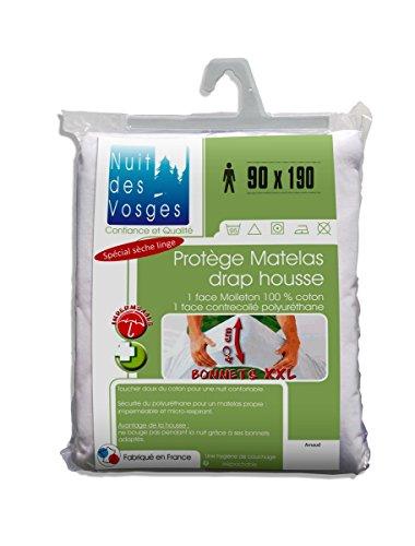 Nuit des Vosges Arnaud Protège Matelas Drap Housse Imperméable avec Bonnets Extra-Larges 40 cm Coton Blanc 190 x 90 cm