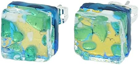 GlassOfVenice Pendientes cuadrados de cristal de Murano con reflejos venecianos, color dorado