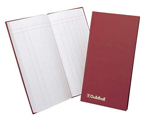 Guildhall T272 - Libro de cuentas (80 páginas, caja menor, pautado, 1 columna de débito, 7 columnas de crédito, 298 x 152 mm), color rojo