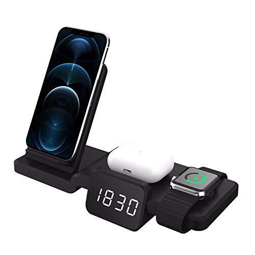 Nomi Cargador InaláMbrico RáPido para iPhone 8 A iPhone 11 Pro-15 W Cargador DoméStico 3 En 1, Compatible con Base De Carga InaláMbrica para Apple Watch Y Airpods Pro