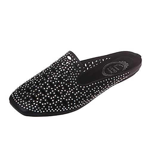 ypyrhh Sandalias De Ducha de Casa,Openwork Flat Slippers, Anti-Slip Home Sandals-Black_37,Sandalias de Punta Descubierta Unisex niños