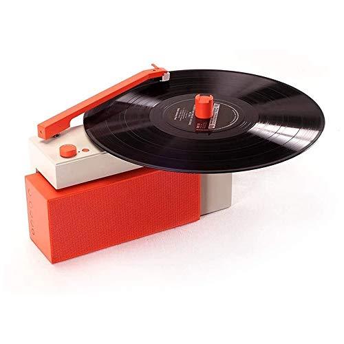 JIE KE Caja de música HYM-Duo Tipo de división Vinyl Smart Speaker Debut Turntable de Carbono Bluetooth Interactive Subwoofer Subwofer Reproductor de grabación de Audio (Naranja)