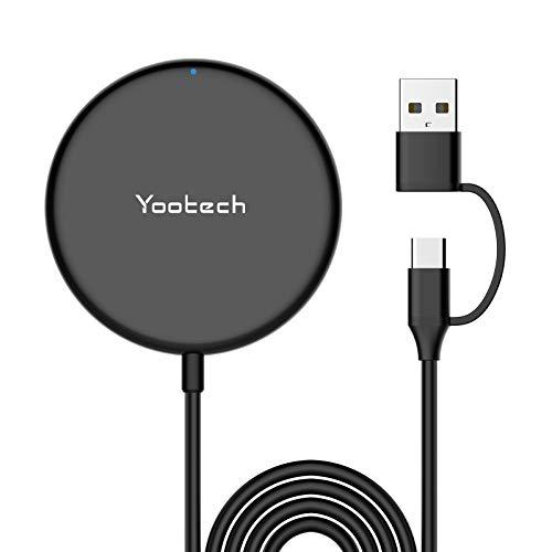 yootech Cargador Inalámbrico Magnético Rápido[Nuevo Versión 2021], Wireless Charger con Cable con Puerto USB A y Tipo C Solo para 12/12 Mini / 12 Pro / 12 Pro MAX, AirPods Pro (NO Adaptador)