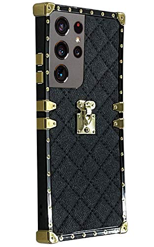 Westillux s21ultra 5G case Square Compatible with Samsung Galaxy S21 Ultra 5G Cases Trunk Plaid Luxury Phone Cover Girly Rectangle Bumper galaxys21ultra 21ultar Box Girls Women funda 6.8 inch (Black)