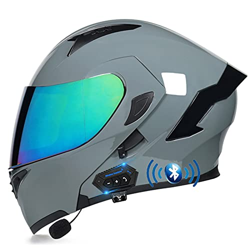 Bluetooth Casco de Moto, Casco de Motocicleta Integrado con Doble Visera para Motocicleta Scooter, Casco de Moto Modular para Adult Hombre Mujer, ECE Homologado (Color : H, Size : M=(57-58CM))