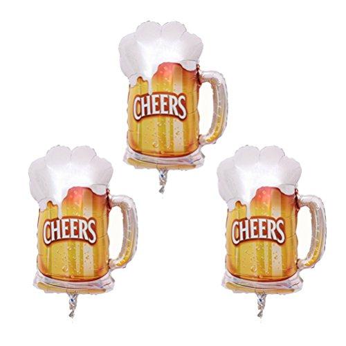 Amosfun 3 Stks Foil Ballonnen Bier Bekers Cheers Patronen Mylar Helium Ballonnen voor Hawaii Verjaardag Bruiloft Party Decor (Gouden)