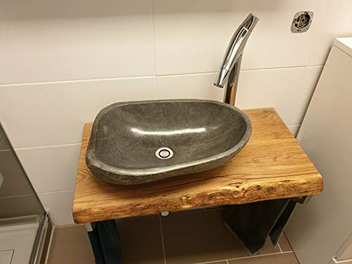 Waschtischplatte Eiche massiv Baumkante geölt Holz Aufsatzwaschtisch (50 x 45 cm)