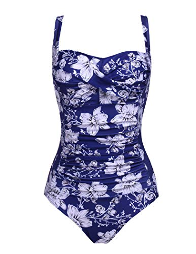 GEESENSS Women Sexy Swimwear Flower Pattern Bathing Suits Slimming One Piece Swimsuits XXL