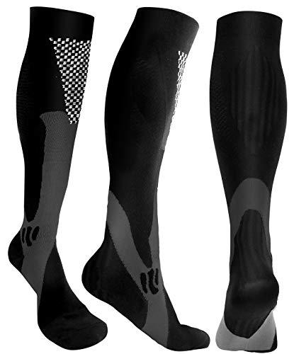 Compression Socks Men Women 20-30mmHg Knee High Athletic, Running, Basketball, Medical, Travel, S/M, L/XL, XXL, 3 Pack